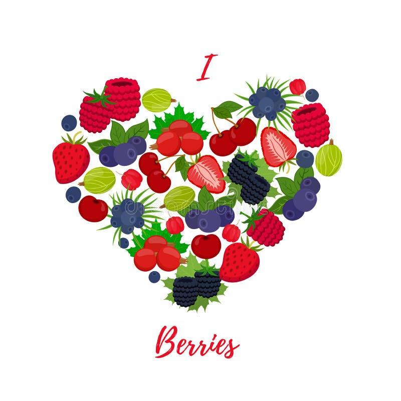 Vektorbär i hjärta formar, bär frukt förälskelse Tecknad filmlägenhetstil royaltyfri illustrationer