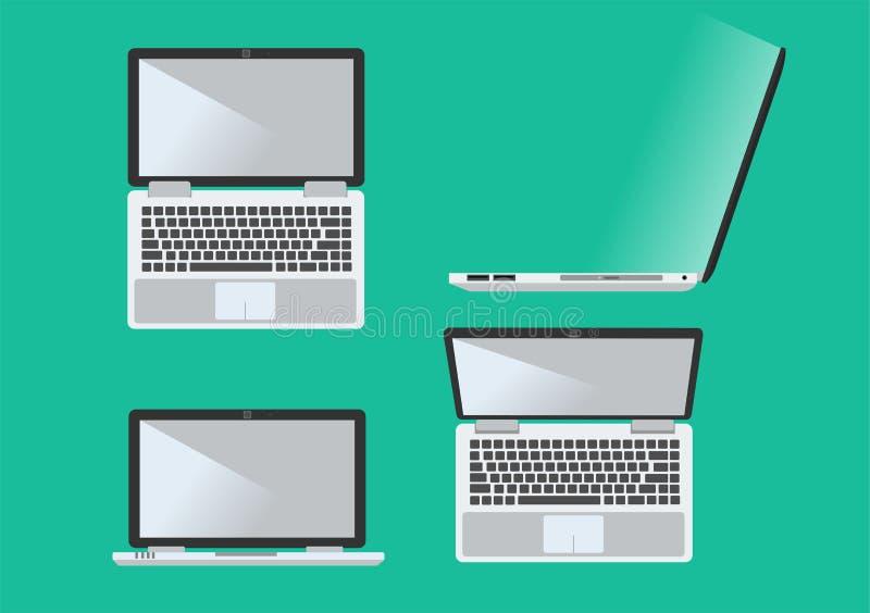 Vektorbärbar dator i sida fyra royaltyfri bild