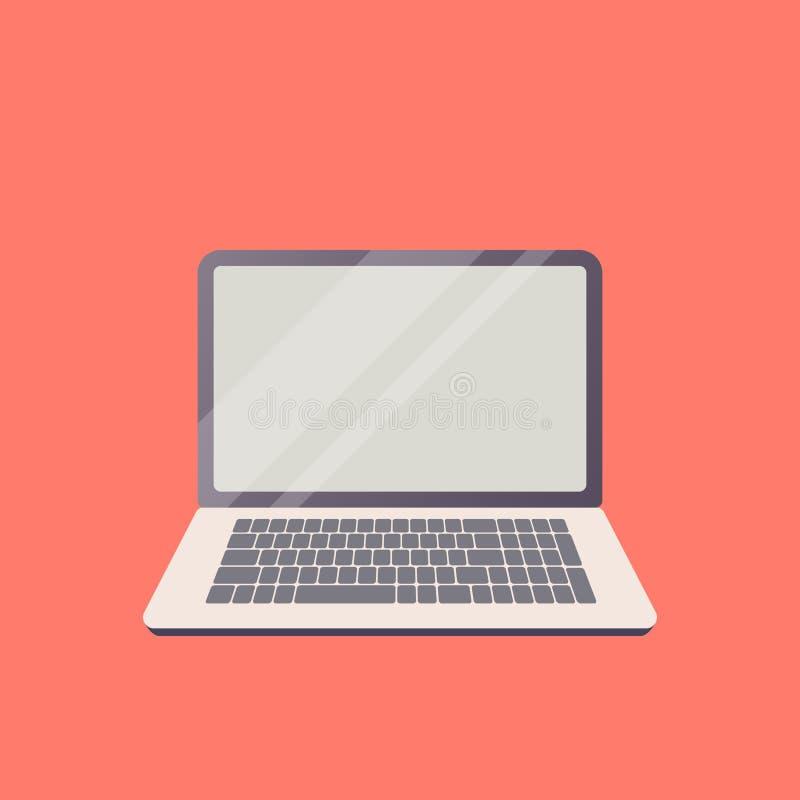 Vektorbärbar dator på temat av ny teknik i plan design En isolerad anteckningsbok för affär med den öppna bildskärmen på den röda royaltyfri foto