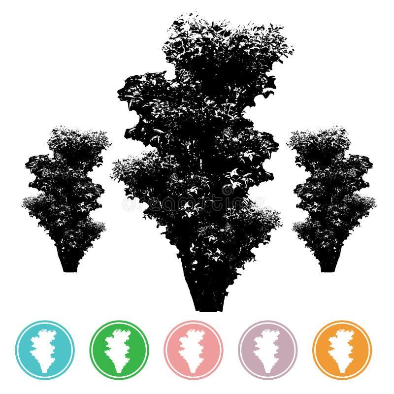 Vektorbäume in den Schattenbildern stellen viele Bäume mit Blättern a her stock abbildung
