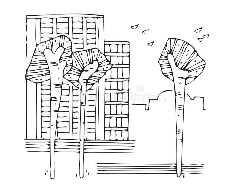 Vektorbäume in Verunreinigung 2 lizenzfreie abbildung