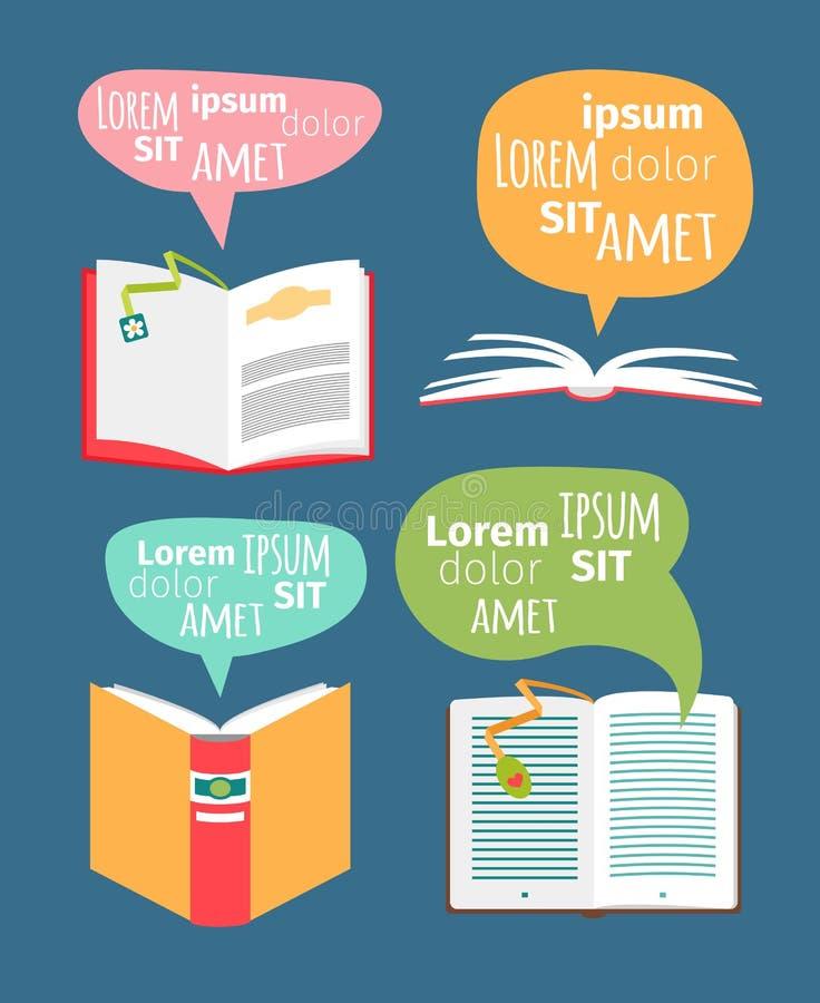 Vektorbücher mit Spracheblasen lizenzfreie abbildung