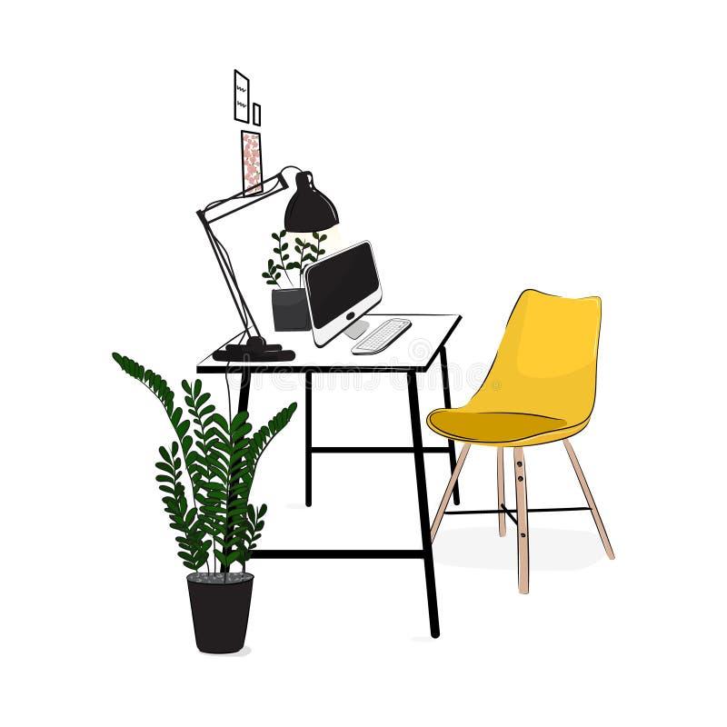 Vektorbüroarbeitsplatz mit Computer und Anlagen Bequemer moderner kreativer Arbeitsplatz mit gelbem Stuhl Flaches Dachbodenstudio stock abbildung