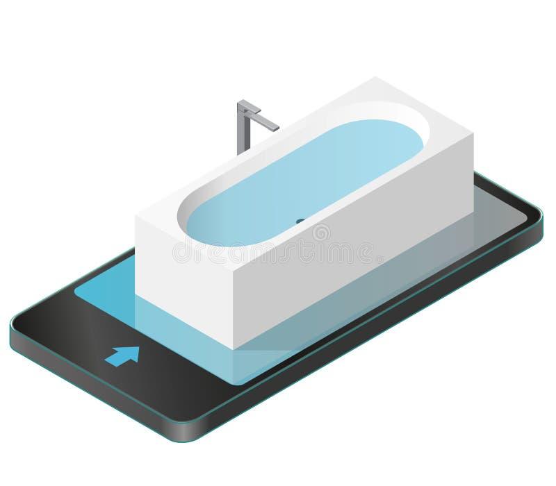 Vektorbadewanne im Handy Isometrische moderne Badewanne gefüllt mit Wasser stock abbildung