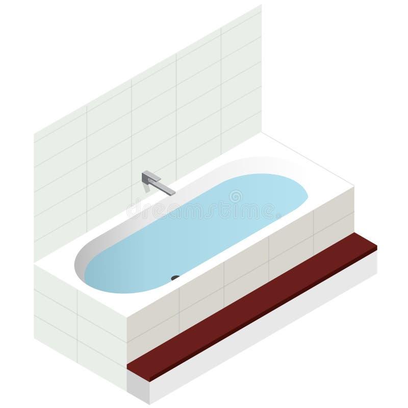 Vektorbadewanne, isometrische Perspektive Moderne Badewanne gefüllt mit Wasser stock abbildung