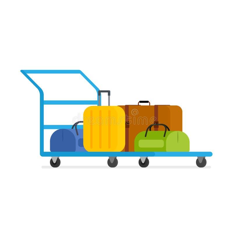 Vektorbagagespårvagn vektor illustrationer