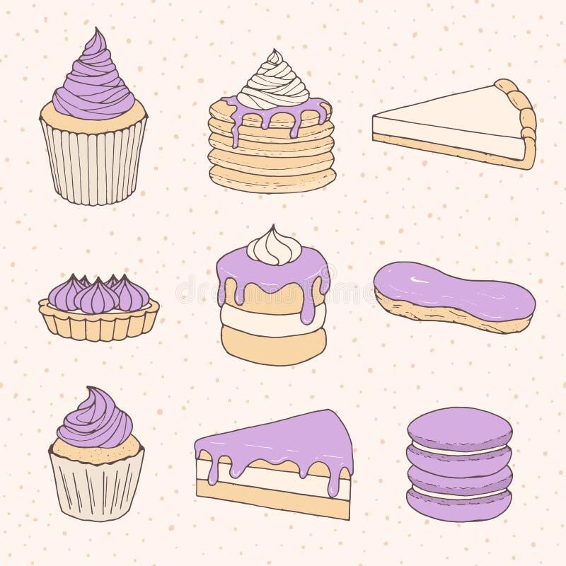 Vektorbakelsesamling av kakor, pajer, tarts, muffin, macaron vektor illustrationer