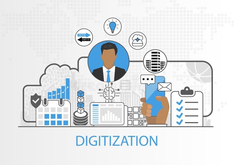 Vektorbakgrund av affärsmannen och symboler för digitizationbegrepp vektor illustrationer