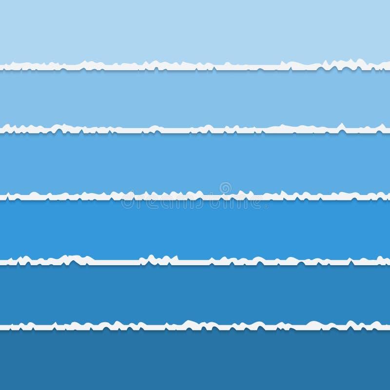Vektorbakgrund av blåa sönderrivna pappers- baner med utrymme för text vektor illustrationer