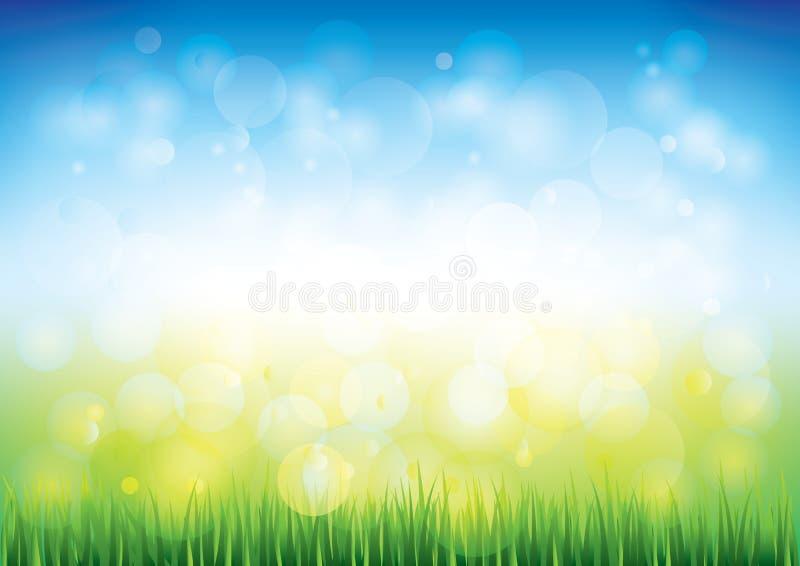 Vektorbakgrund för blå himmel och gräs royaltyfri illustrationer