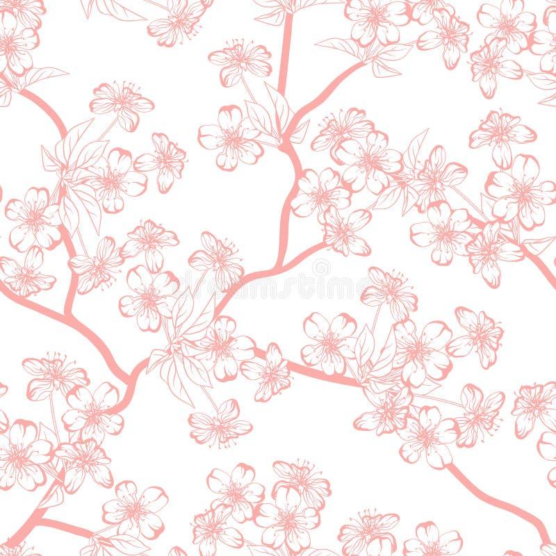 Vektorbakgrund för körsbärsröd blomning (Sömlöst royaltyfri illustrationer