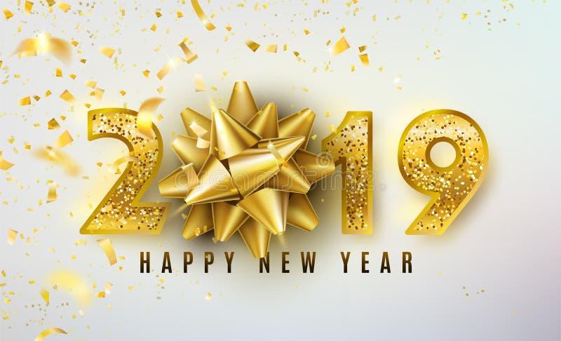 2019 vektorbakgrund för lyckligt nytt år med den guld- gåvapilbågen, konfetti som är skinande blänker guld- nummer Jul firar stock illustrationer