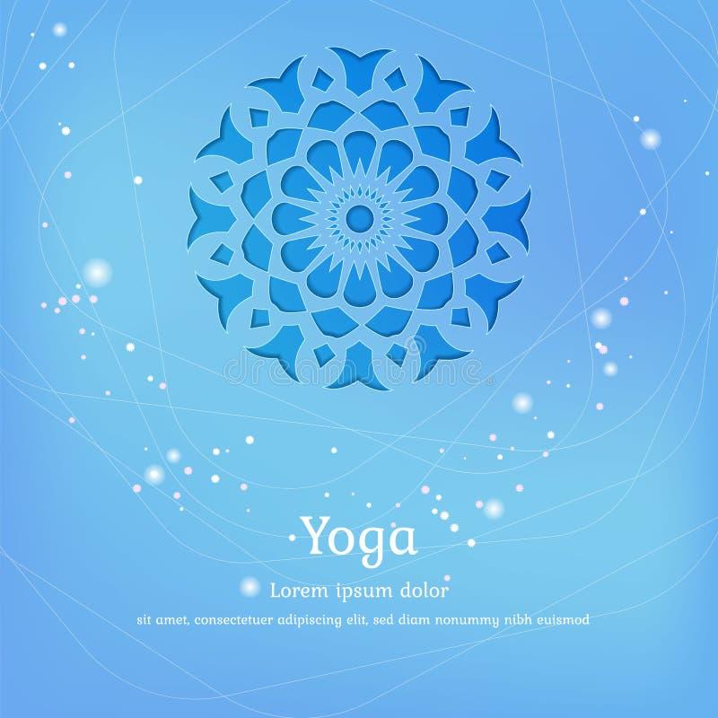 Vektorbakgrund för yoga, meditation Yogastudiomall stock illustrationer