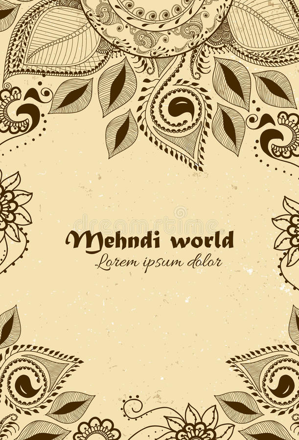 Vektorbakgrund i indisk dekorativ stil Mehndi blom- prydnad Hand dragen etnisk modell Hennatatueringtema stock illustrationer