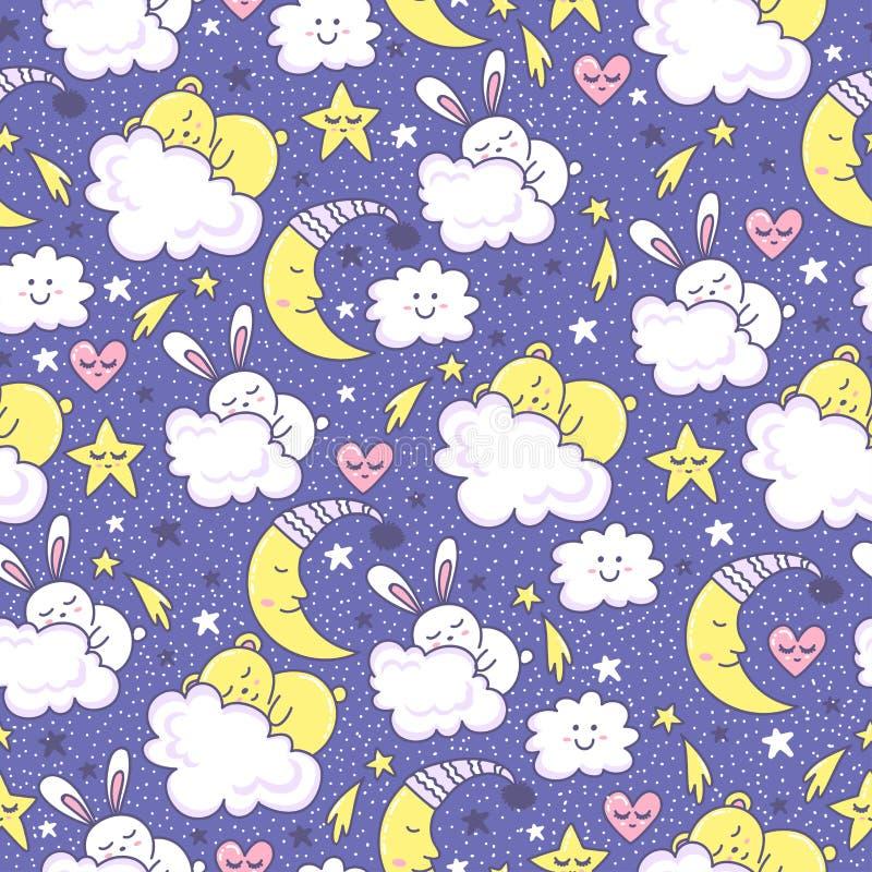 Vektorbakgrund med att sova kaninen och björnar, måne, hjärtor, moln och stjärnor stock illustrationer