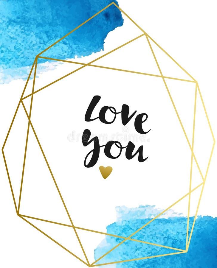 Vektorbakgrund med blåa vattenfärgborsteslaglängder och inskriften 'älskar dig ', Vattenf?rgen plaskar royaltyfri illustrationer
