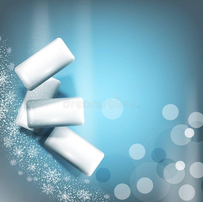 Vektorbakgrund med bubbelgum på grå färg-blått bakgrund stock illustrationer