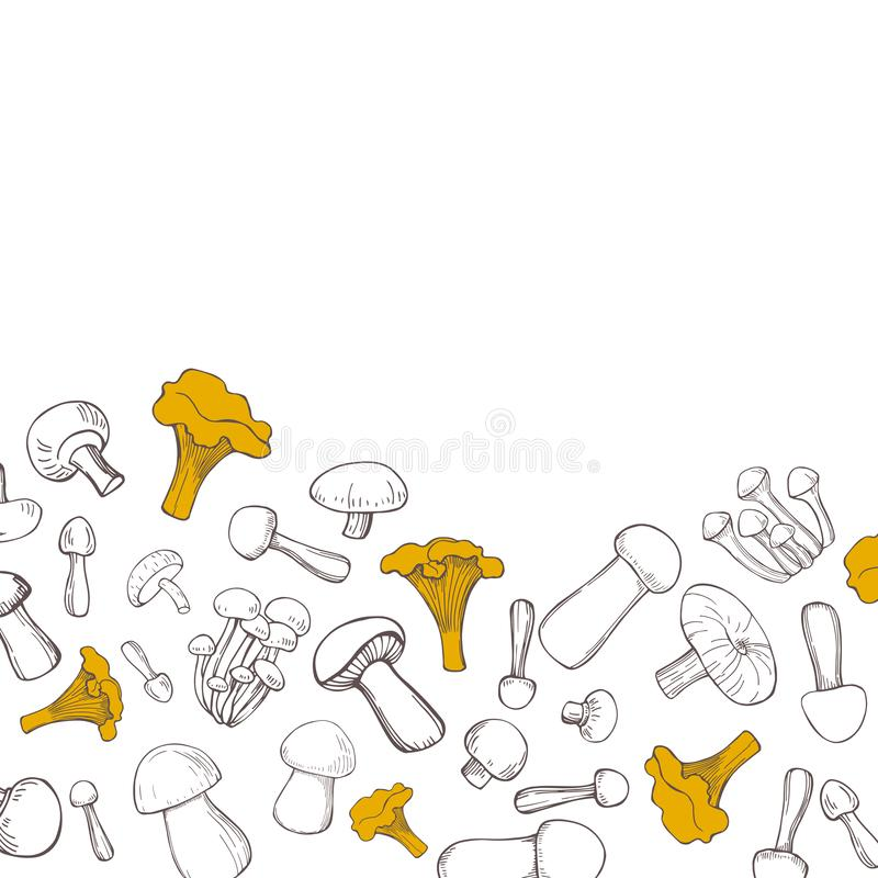 Vektorbakgrund med champinjoner vektor illustrationer