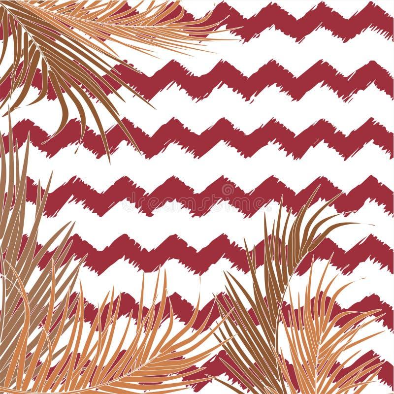 Vektorbakgrund med dekorativa aktuella palmblad på ljus bakgrund av sicksacklinjer Ljusa och pastellfärgade moderiktiga bruna fär royaltyfri illustrationer