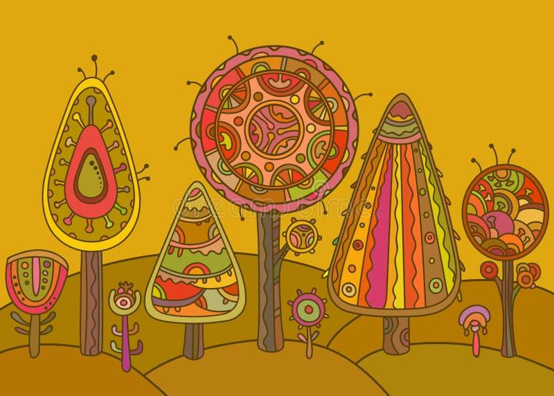 Vektorbakgrund med dekorativa träd stock illustrationer