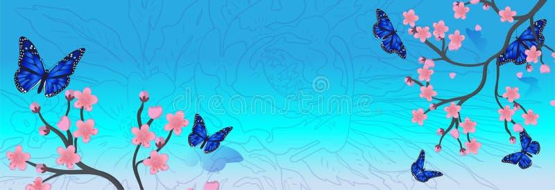 Vektorbakgrund med den k?rsb?rsr?da blomningen f?r v?r Sakura filial i v?r stock illustrationer