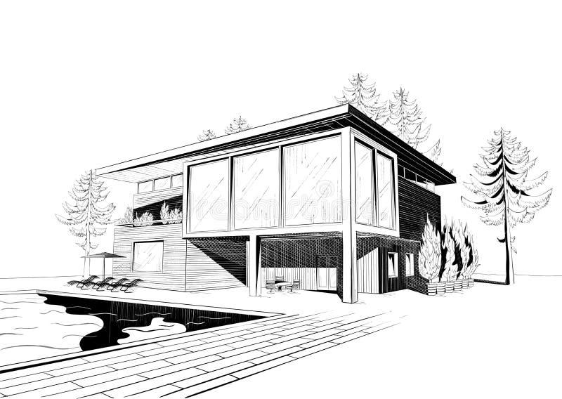 Vektorbakgrund med det moderna huset med simning  vektor illustrationer