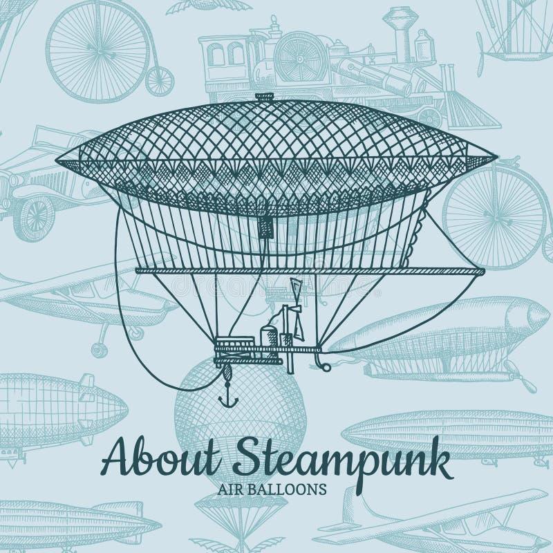 Vektorbakgrund med drog luftskepp för steampunk hand, luftbaloons, cyklar och bilar med stället för text stock illustrationer