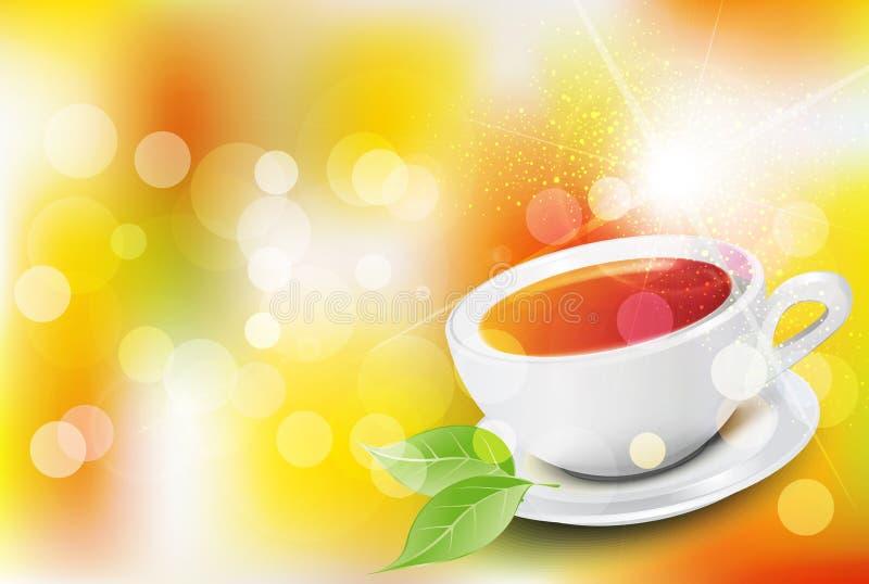 Vektorbakgrund med en kopp te vektor illustrationer