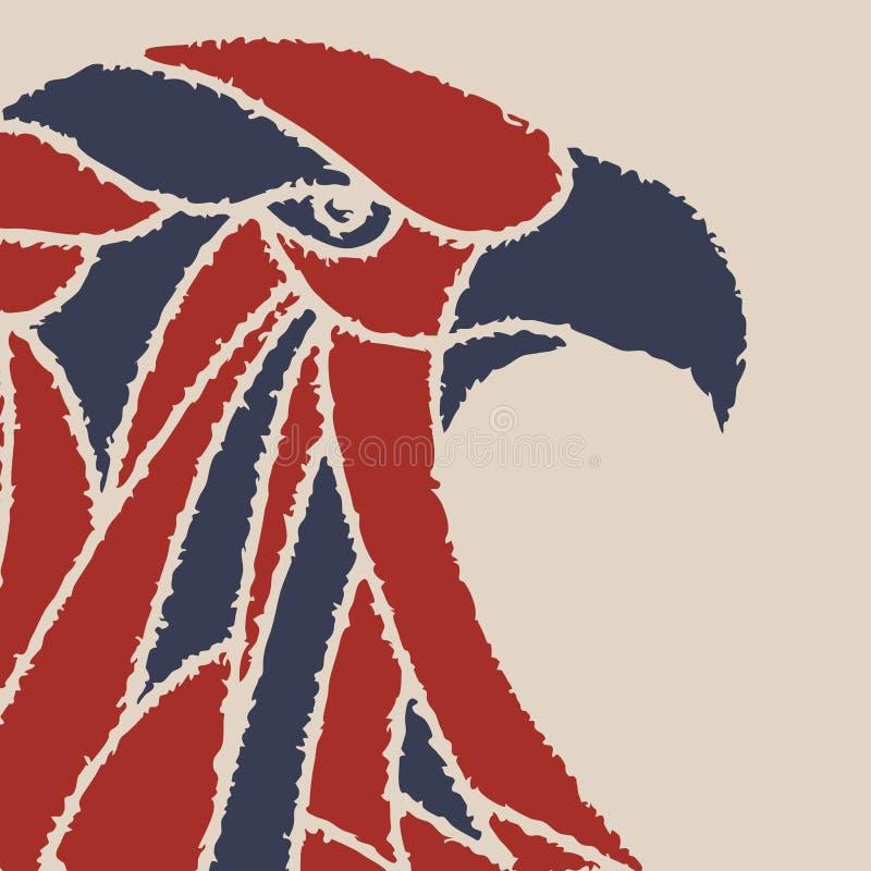 Vektorbakgrund med ett örnhuvud royaltyfri illustrationer