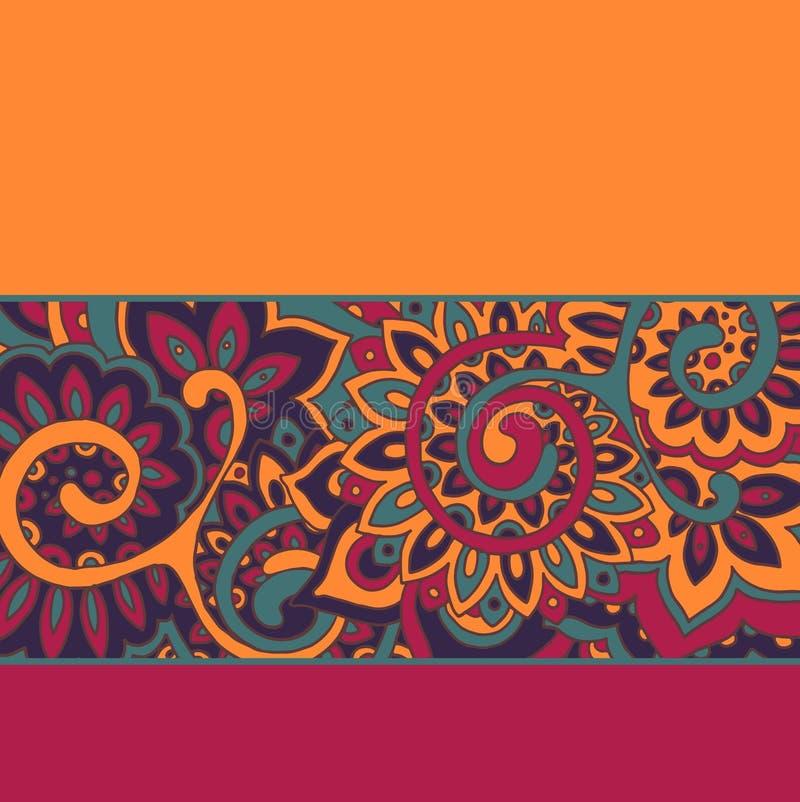 Vektorbakgrund med färgremsor och den blom- modellen royaltyfri illustrationer