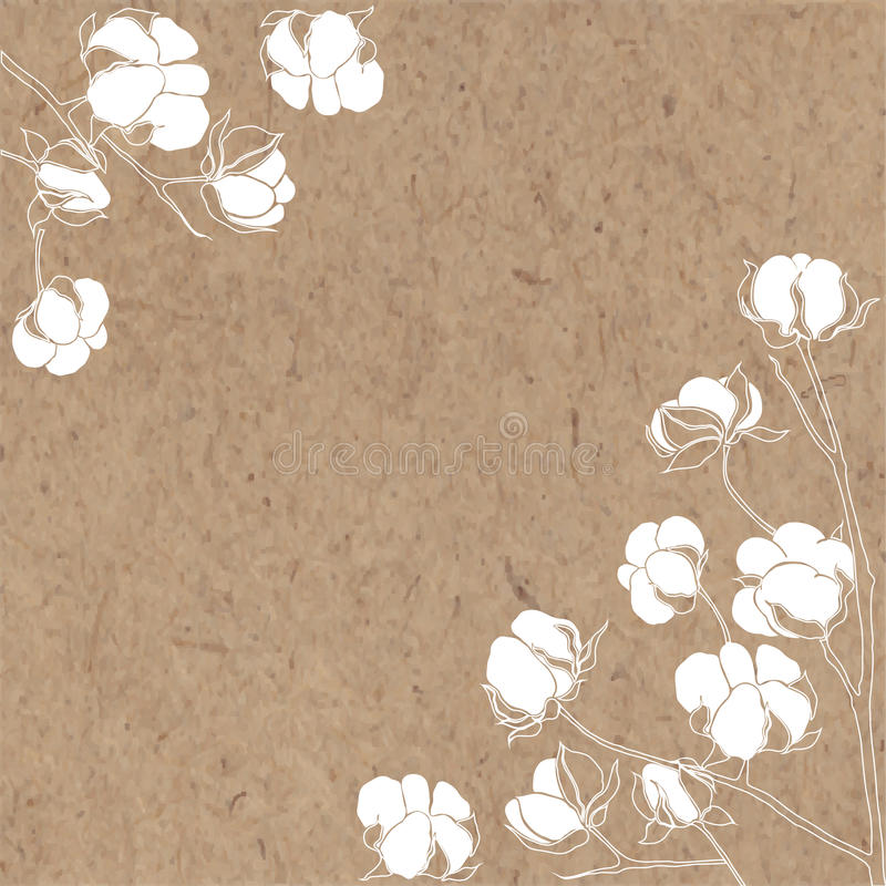 Vektorbakgrund med filialen av bomull på kraft papper stock illustrationer