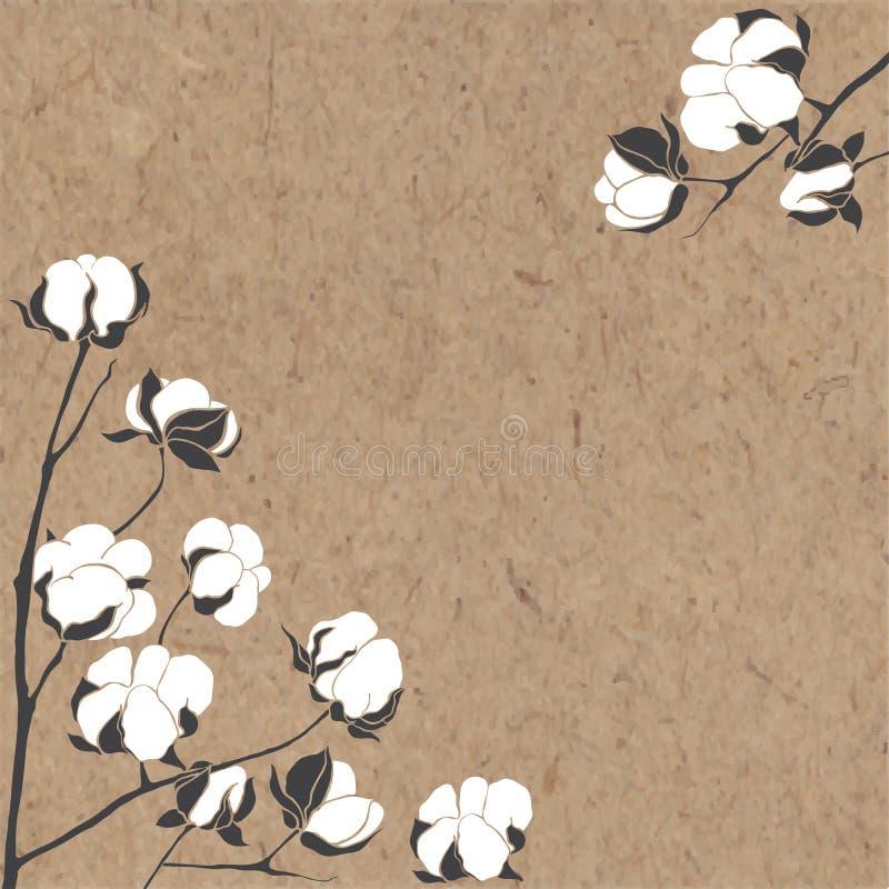 Vektorbakgrund med filialen av bomull på kraft papper Vara kan G royaltyfri illustrationer
