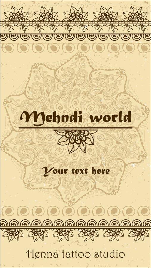 Vektorbakgrund med hand drog gränser och mandala i indisk stil för mehndi Samling av modellborstar inom stock illustrationer