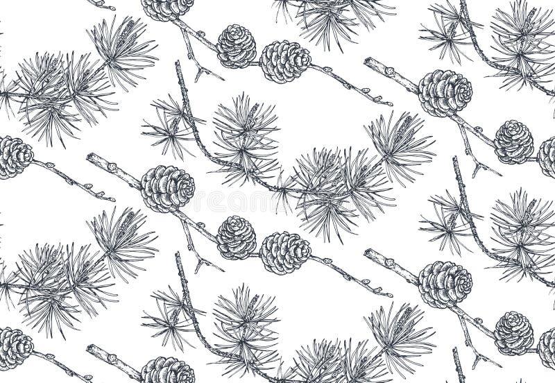 Vektorbakgrund med handen drog barrträdträd skissar in stil royaltyfri illustrationer