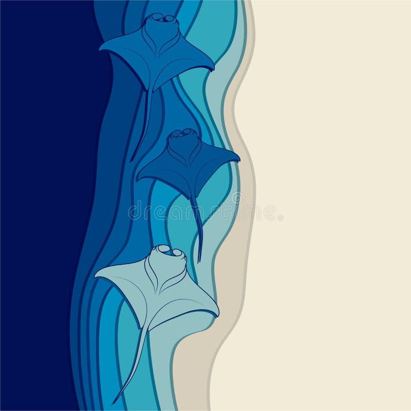 Vektorbakgrund med havsbotten- och flottastingrockorna, mantastrålar stock illustrationer