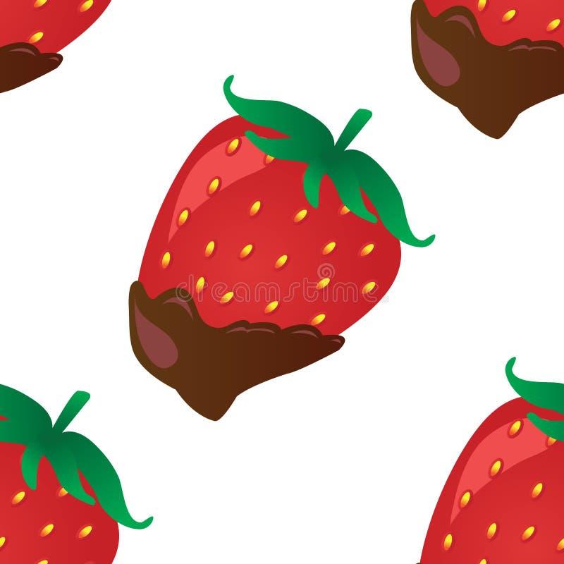 Vektorbakgrund med jordgubben i choklad royaltyfri illustrationer