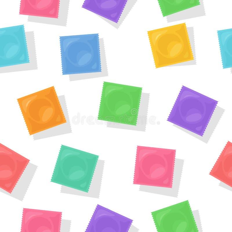 Vektorbakgrund med kondompackar vektor illustrationer