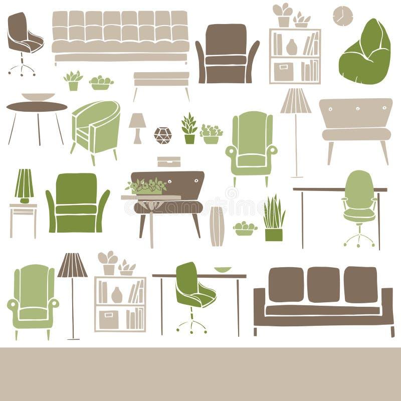Vektorbakgrund med möblemang, lampor och växter för hemmet vektor illustrationer