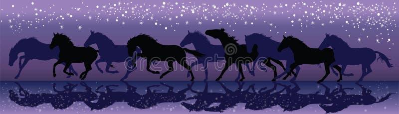 Vektorbakgrund med mörka hästar som galopperar i natten royaltyfri illustrationer