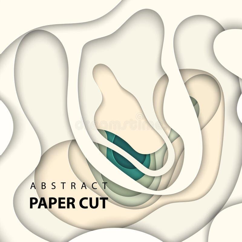 Vektorbakgrund med papperssnittet för beigea och gröna färger formar abstrakt pappers- stil för konst 3D, designorientering för a royaltyfri illustrationer