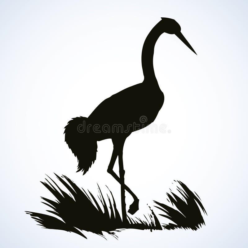 Vektorbakgrund med par av storkar i redet stock illustrationer