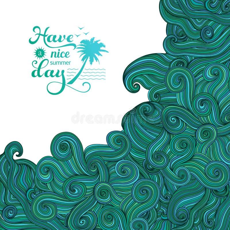 Vektorbakgrund med prydnaden Stor våg, tsunami, sommarlogo Färgrikt abstrakt begrepp hand-dragen design, vågbakgrund stock illustrationer