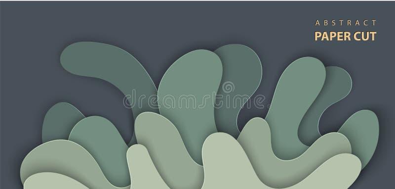 Vektorbakgrund med snittet för färgstänkvattenpapper formar i mörkt - grön färg abstrakt pappers- stil för konst 3D, designorient royaltyfri illustrationer