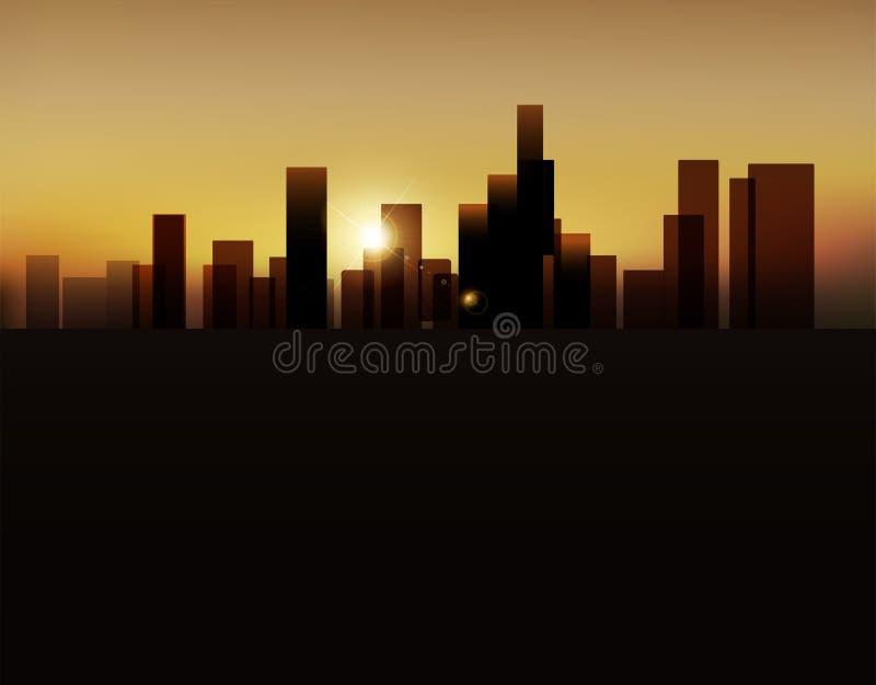 Vektorbakgrund med stads- landskap (byggnader och soluppgång) vektor illustrationer