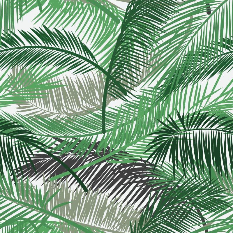Vektorbakgrund med två lager av tropisk lövverk Palmbladmodell Sömlös vektormodell för tryckdesign, tapet, s royaltyfria bilder
