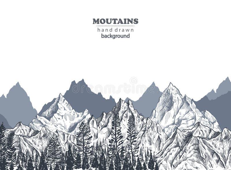 Vektorbakgrund med utdragna grafiska bergskedjor för hand vektor illustrationer