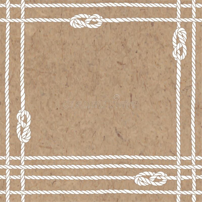 Vektorbakgrund på havstema Illustrationen med havet ropes, fnuren och stället för text på kraft papper vektor illustrationer