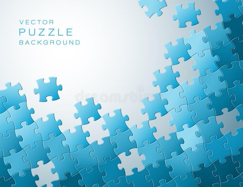 Vektorbakgrund som göras från blåa pusselstycken stock illustrationer
