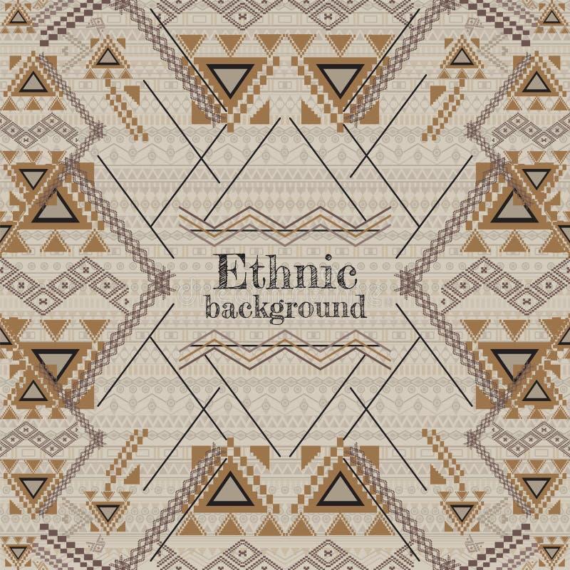 vektorbakgrundsdesign Etnisk stam- geometrisk modell Aztec dekorativ stil stock illustrationer