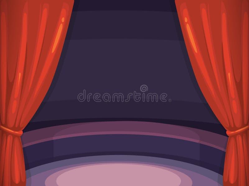Vektorbakgrundsillustration med den röda gardinen och arenan royaltyfri illustrationer